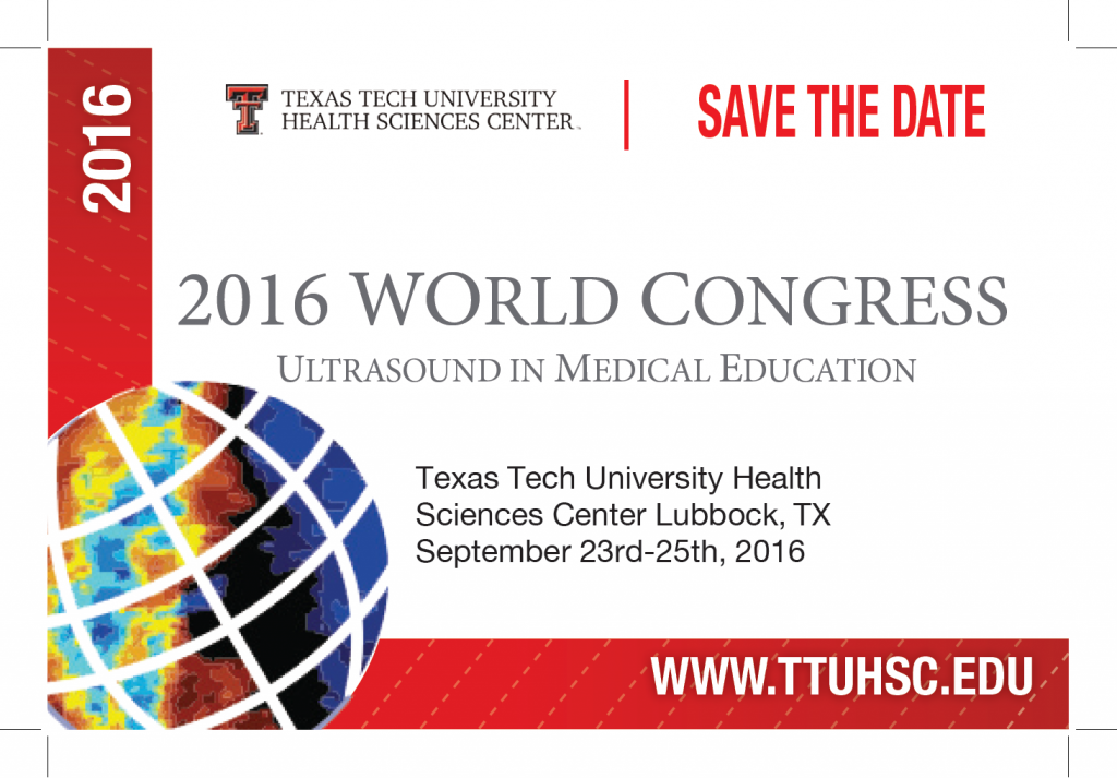 World Congress on Ultrasound in Medical Education Save The Date 2016